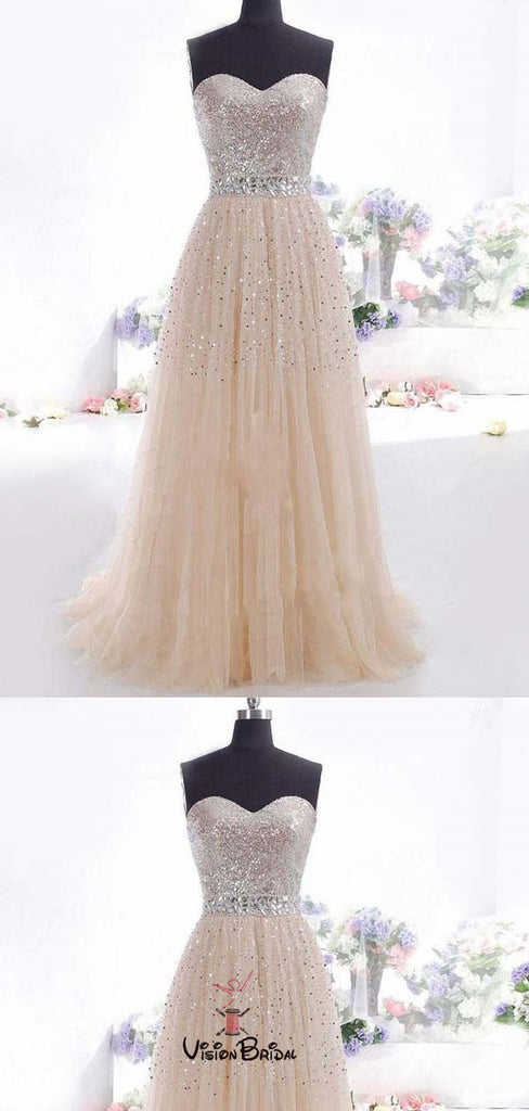 Shinny Sweetheart Sequin Long A-Line Tulle Prom Dresses, Prom Dresses, VB01520