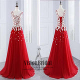 Red Scoop Neckline A-Line Prom Dress, Lace Up Floor Length Prom Dress With White Applique, Prom Dresses, VB0245 - Visionbridal