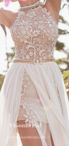 Alluring High Neck With Appliques Homecoming Dresses, Beading Freshman Homecoming Dresses, VB2577