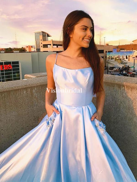 Elegant Blue Spaghetti Straps A-Line With Beading Pockets Prom Dresses, VB03658