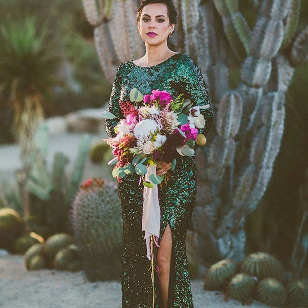 Sparkly Scoop Neckline Green Long Sleeve Mermaid Side Slit Sequin Bridesmaid Dresses, VB03801