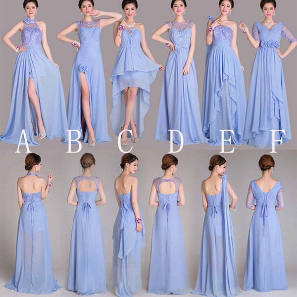 2018 Mismatched Styles Classic Formal Chiffon Floor-Length Pleating A-Line Long Bridesmaid Dresses, VB0339 - Visionbridal