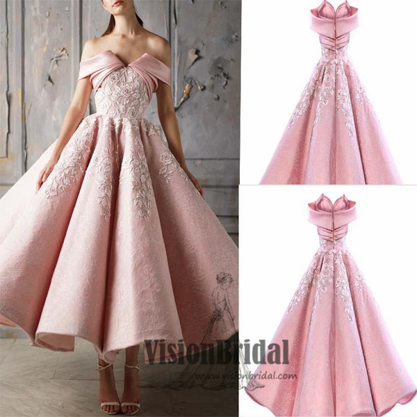 Charming Off The Shoulder Flower Embroidery Zipper Up Ball Gown, Beautiful Prom Dress, VB0420 - Visionbridal