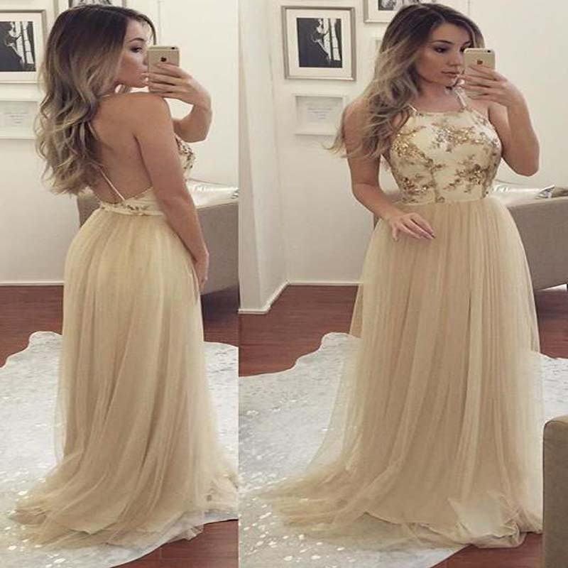 Simple Halter Sequin Top Open Back A-Line Tulle Prom Dresses, Prom Dress, VB01323