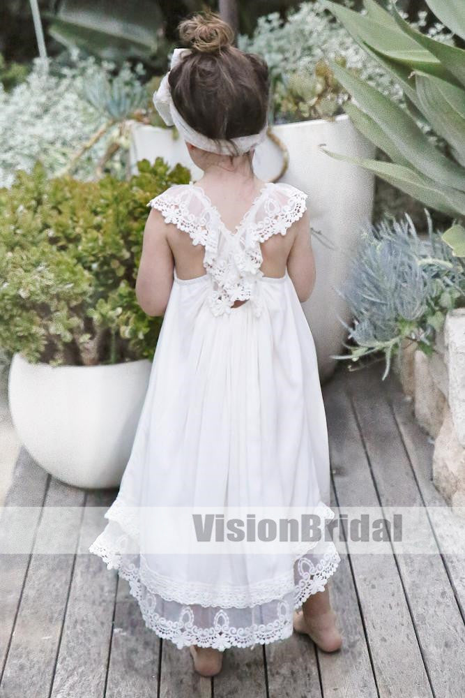 Generous Lace At The Hem V-Shape Back Flower Girl Dresses, Unique Flower Girl Dresses, Flower Girl Dresses, VB0845