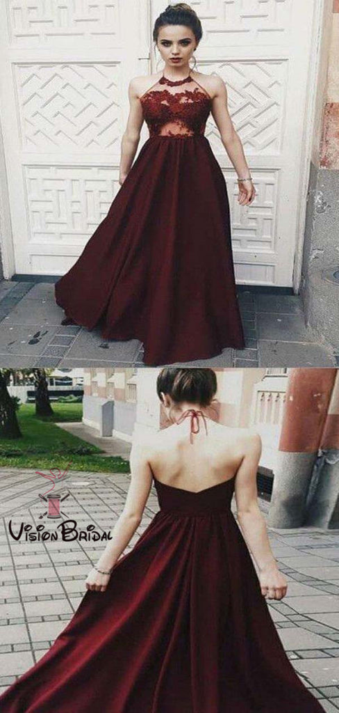Sexy Halter Burgundy Lace Top Open Back Long A-Line Prom Dresses, Prom Dresses, VB01391