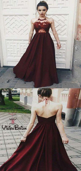 661dd32347 Sexy Halter Burgundy Lace Top Open Back Long A-Line Prom Dresses ...