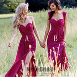 2018 Simple Mismatched Chiffon Side Split Pleating Floor Length Cheap Long Bridesmaid Dress, Beautiful Bridesmaid Dresses, VB0376 - Visionbridal