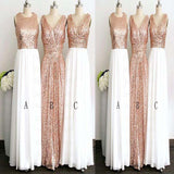 Classic Mismatched Sequin Sleeveless A-Line Long Bridesmaid Dress, Charming Bridesmaid Dress, VB0492 - Visionbridal