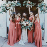 Elegant V-Neck Long A-Line Chiffon Bridesmaid Dresses, Cheap Bridesmaid Dresses, VB02940