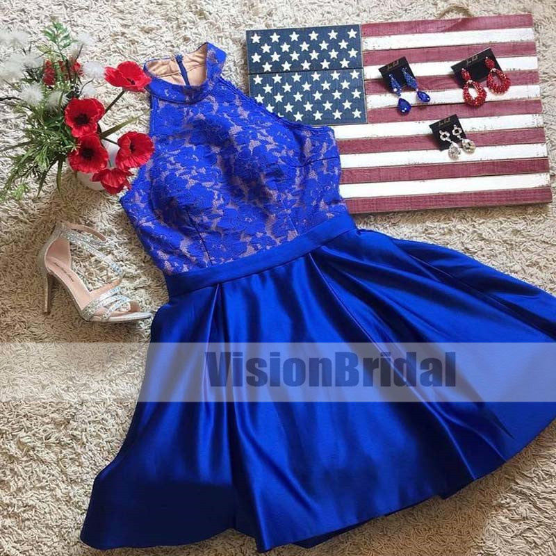 Royal Blue Halter Lace Top Cheap Short Homecoming Dresses Online