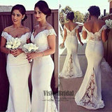 Elegant White Lace Off The Shoulder V-Back Mermaid Bridesmaid Dress, Bridesmaid Dresses, VB0480 - Visionbridal