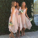 Spaghetti Straps A-Line Asymmetrical Lace Bridesmaid Dress, Cheap Bridesmaid Dresses, VB0312 - Visionbridal