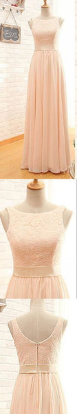 Modest Lace Top Bateau Off Shoulder Sleeveless Blush Pink Zipper Back Maxi Bridesmaid Dresses, VB0127 - Visionbridal