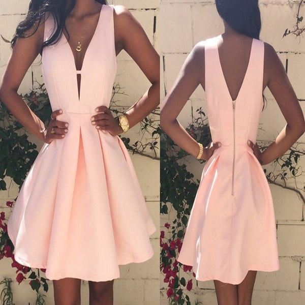 Popular peach pink simple elegant tight freshman homecoming prom gown dress, VB0190 - Visionbridal