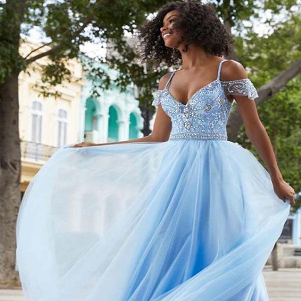 Charming Blue Off Shoulder Top Rhinestones Long A-Line Tulle Prom Dresses, Prom Dresses, VB01439