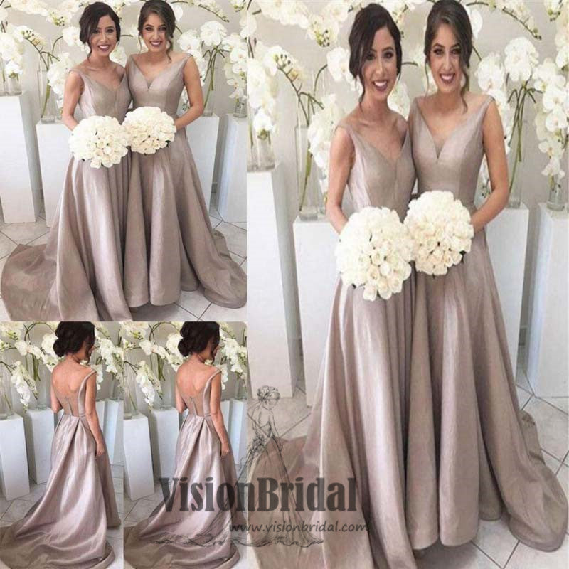 Classy V-Neck Open Back Zipper Up A-Line Long Bridesmaid Dress, Charming Bridesmaid Dress, VB0515 - Visionbridal