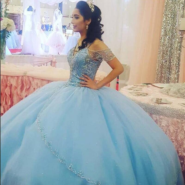 Alluring Princess Dress Blue Off Shoulder Top Beading Ball Gown Tulle Prom Dresses, Prom Dresses, VB01921