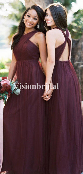 Burgundy Cross Neck Long A-Line Tulle Bridesmaid Dresses, VB02770