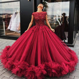 Gorgeous Dark Red Cap Sleeves Rhinestones Ball Gown Tulle Prom Dresses With Appliques, Prom Dresses, VB01462