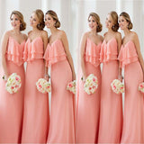 2018 Charming Drape Design Spaghetti Straps Floor-Length Bridesmaid Dress, VB0340 - Visionbridal