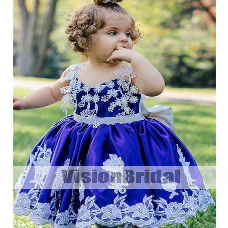 Chic Spaghetti Straps Cross Back Satin Flower Girl Dresses With Lace Appliques, Lovely Flower Girl Dresses With Bow-Knot, Flower Girl Dresses, VB0882