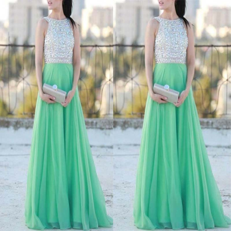 Mint Green High Neck With Beaded Top Chiffon A-Line Long Prom Dress, Charming Prom Dress, Prom Dresses, VB0294 - Visionbridal