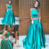 Gorgeous Turquoise Spaghetti Straps Satin Floor Length Prom Dress With Pockets, Two Pieces A-Line Prom Dress, VB0527 - Visionbridal
