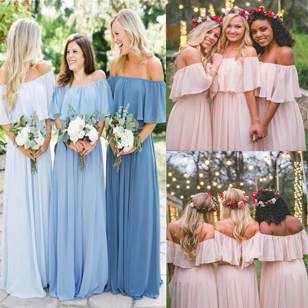 Off the Shoulder Mismatched Bridesmaid Dresses Blue Fitted Bridesmaid Dress, Bridesmaid Dresses, VB0321 - Visionbridal