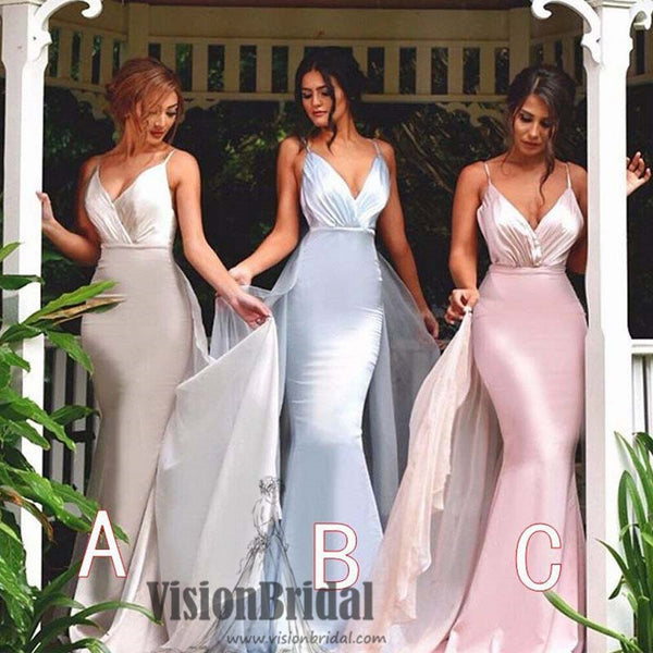 2018 New Arrival Spaghetti Strap Mermaid Inexpensive Floor Length Wedding Party Bridesmaid Dress, VB0377 - Visionbridal