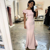 Elegant Pink Cap Sleeve Long Mermaid Jersey Bridesmaid Dresses, Bridesmaid Dresses, VB01887