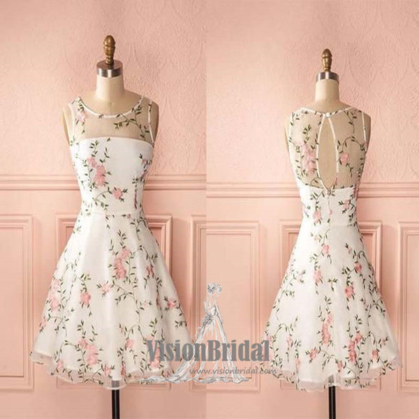 Cute Round Neck Floral Covered Button A-Line Homecoming Prom Dress, Homecoming Dresses, VB0628