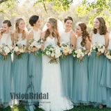 2018 Bateau Lace Top Simple Charming A-Line Long Bridesmaid Dress, Bridesmaid Dresses, VB0412 - Visionbridal