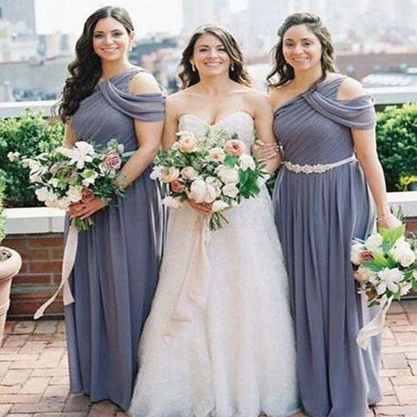 Unique One Shoulder Lilac Long A-Line Chiffon Bridesmaid Dresses With Beading Sash, Bridesmaid Dresses, VB01871