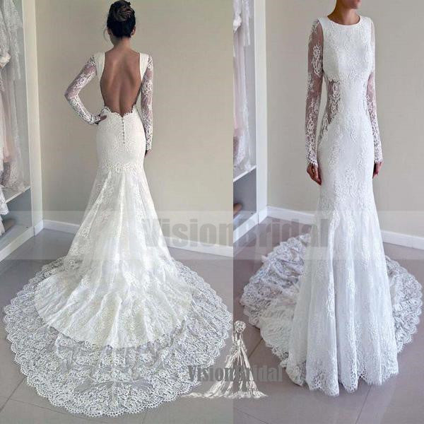 Attractive Round Neck Long Sleeves Open Back Lace Wedding Dress With