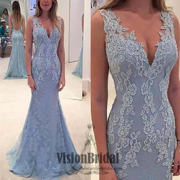 Regular Straps Deep V-neck Mermaid Prom Dress, Lace Applique Beading Prom Dress, Floor Length Prom Dress, VB075 - Visionbridal