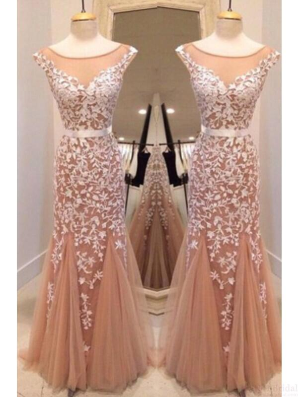 Charming Scoop Neckline V-Back Long Mermaid Prom Dresses With Lace, Prom Dresses, VB01707