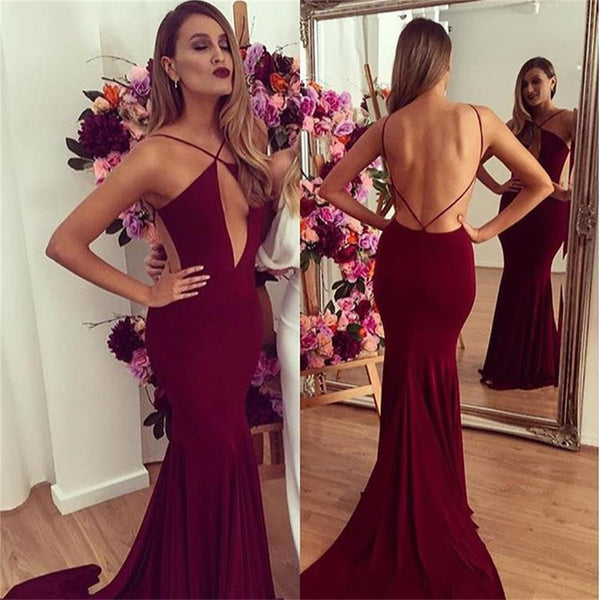 Sexy Backless Mermaid Red Jersey Prom Dresses, Popular Cheap Prom Dresses, VB041 - Visionbridal