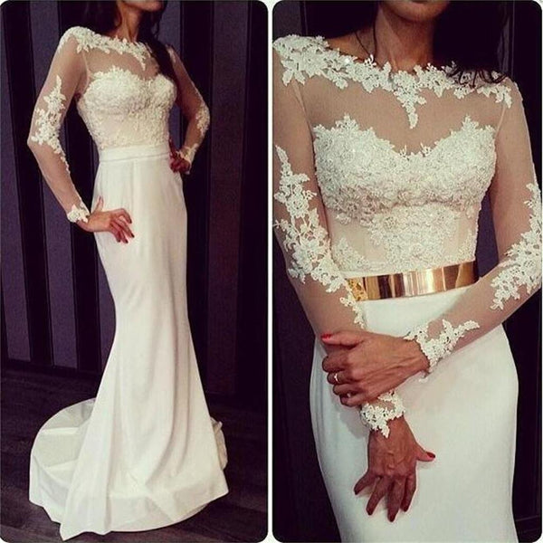 Newest White Prom Dresses, Long Sleeves Prom Dresses, Formal Prom Dresses, Sexy Prom Dresses, Charming Prom Dresses, Open Back Prom Dresses, Prom Dresses Online, VB015 - Visionbridal