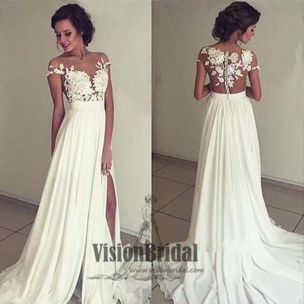 White Off-Shoulder Lace Appliques Prom Dress, Beautiful Side Slit Prom Dress, With Trailing Prom Dress, VB068 - Visionbridal