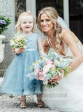 Blue Cute A-Line Crew Tea-Length Tulle Flower Girl Dress With Belt, Top Lace Covered Button Flower Girl Dresses, VB0755