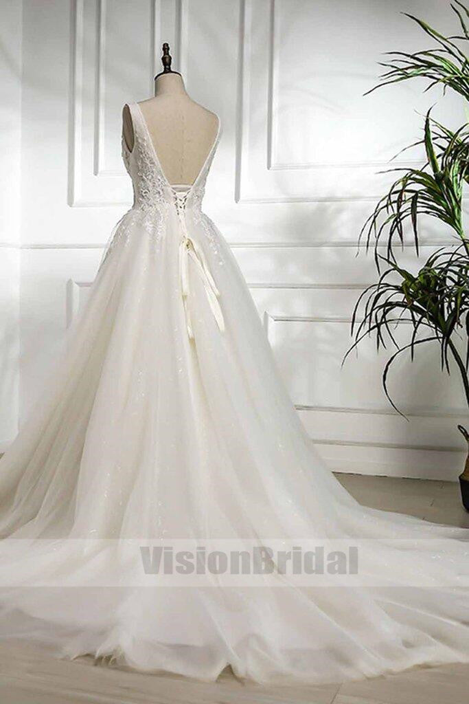 New Design White Tulle V-neck Long Lace Formal Wedding Dress, White Lace Sweep Train Wedding Dress, VB0787