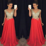 Top With Full Beaded Prom Dress, V-neck Red Prom Dress, Floor Length Prom Dress, Prom Dresses, VB0102 - Visionbridal