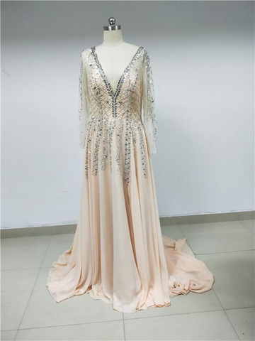 Chiffon Beaded Long Prom Dresses_US10, SP001