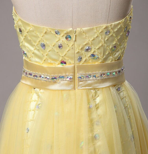 Yellow Sweetheart A-Line Prom Dress, Sleeveless With Beaded Long Prom Dress, Charming Prom Dress, VB0234 - Visionbridal