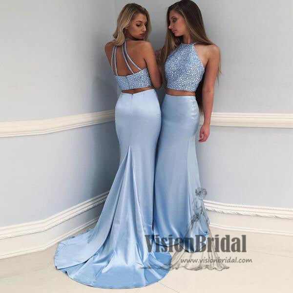 Halter Light Blue Beading Two Pieces Prom Dress, Sleeveless With Trailing Prom Dress, Prom Dresses, VB0115 - Visionbridal