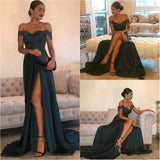 Deep Green Off Shoulder Lace Sexy Prom Dress, Sexy Side Slit Floor Length Prom Dress, Prom Dresses, VB0112 - Visionbridal