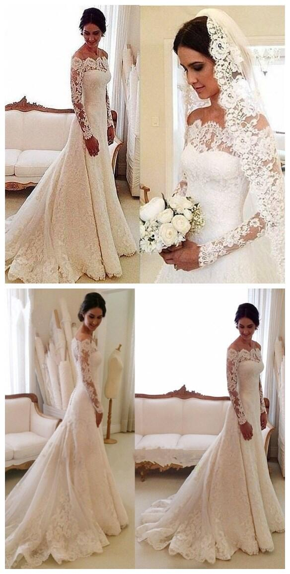 Beautiful off the shoulder long sleeve lace wedding dress with beautiful off the shoulder long sleeve lace wedding dress with trailing wedding dress vb0691 junglespirit Gallery