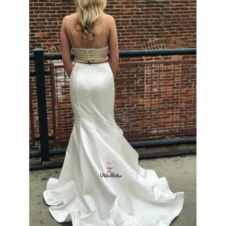 Unique Ivory Spaghetti Straps V-Neck Two Pieces With Beaded Long Mermaid Prom Dresses, Prom Dresses, VB01743