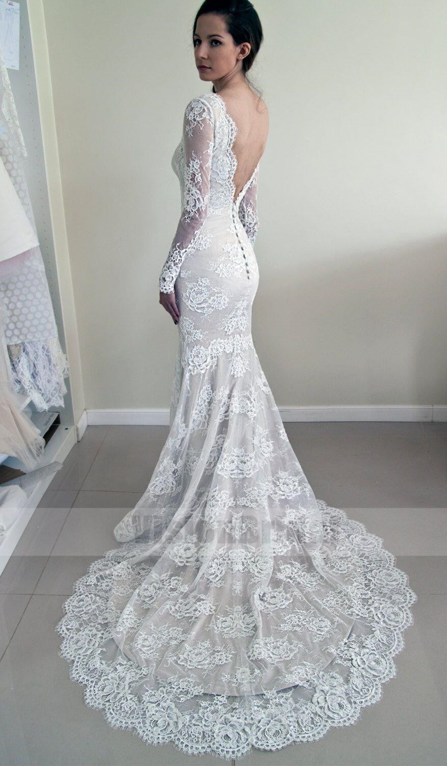 Alluring scoop neckline long sleeves lace mermaid wedding dress alluring scoop neckline long sleeves lace mermaid wedding dress unique open back wedding dress with junglespirit Choice Image